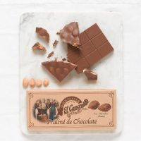 reamy milk chocolate with hazelnut paste and studded with whole almonds