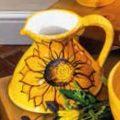Flat Based Jug Sunflowers